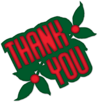 Clip Art Of A Holiday  Thank You  On A Background Of Green Holly