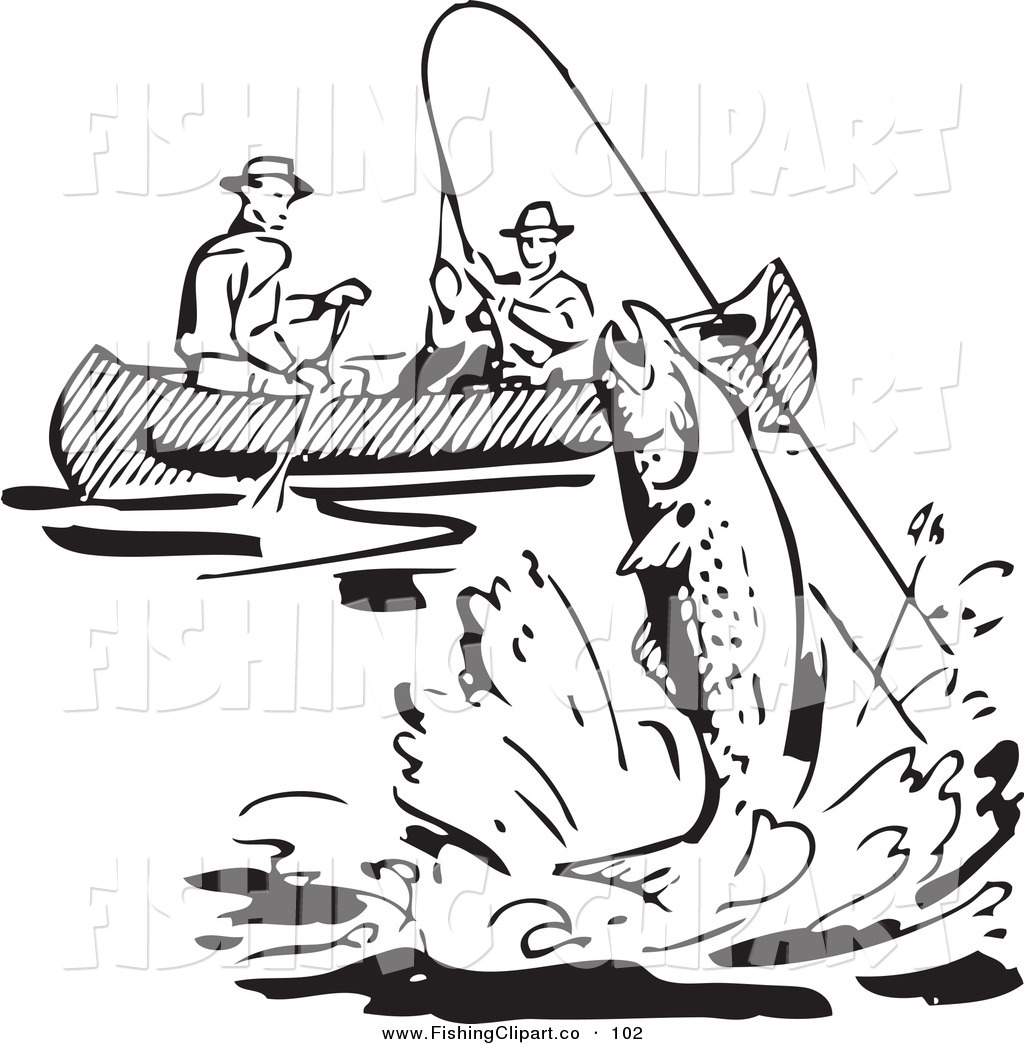 Clip Art Of A Retro Black And White Men Fishing In A Boat A Fish