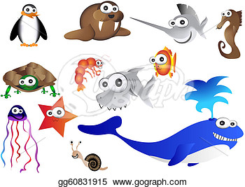 Clip Art Vector   Sea Animalsvector Illustration Of Ocean Life  Stock