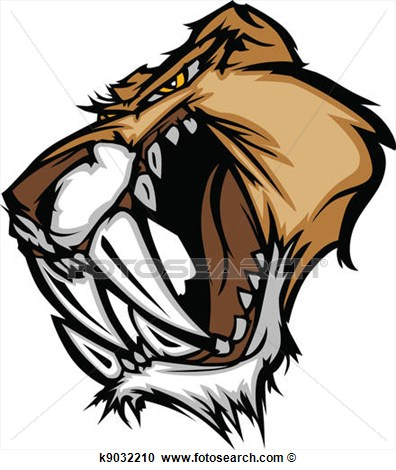 Clipart Of Cougar Saber Tooth Cat Mascot Head K9032210   Search Clip