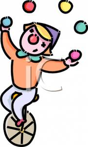 Clown Juggling On A Unicycle   Royalty Free Clipart Picture