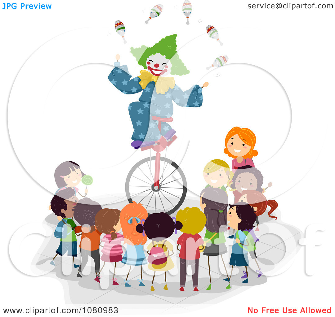 Clown On Unicycle Clip Art