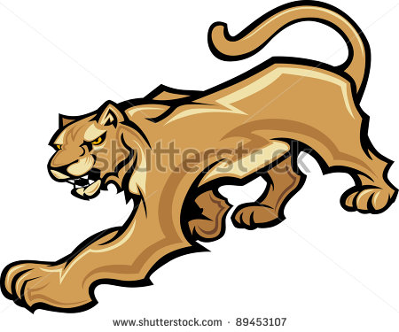 Graphic Mascot Vector Image Of A Walking Cougar Body   Stock Vector