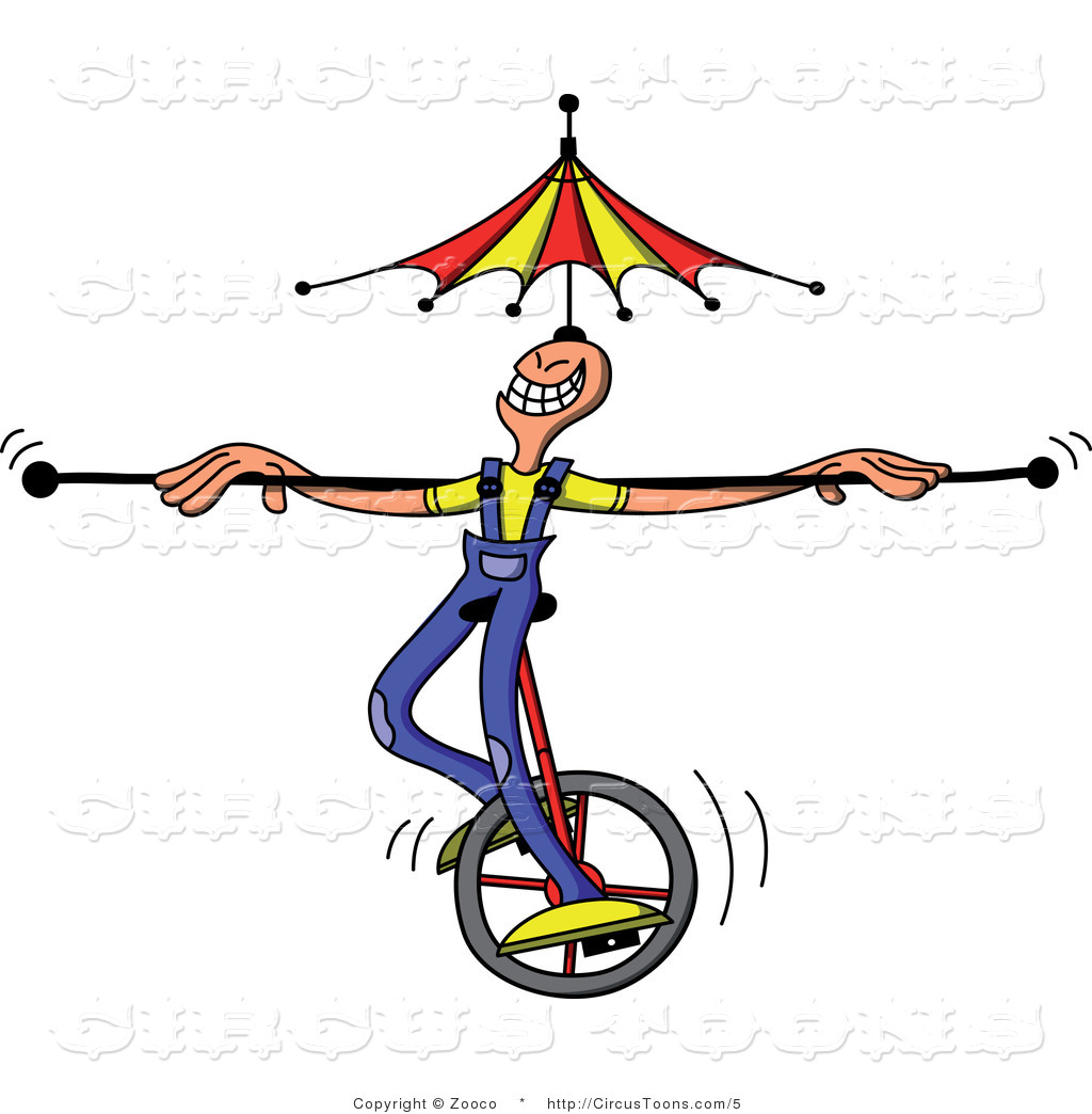Larger Preview  Circus Clipart Of A Man Riding A Unicycle With An