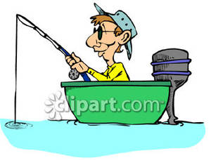 Man Fishing In Boat Clipart A Man Sitting In A Small Boat Fishing