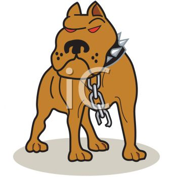 Of A Mean Looking Pitbull Broken Off Of His Chain In A Vector Clip Art