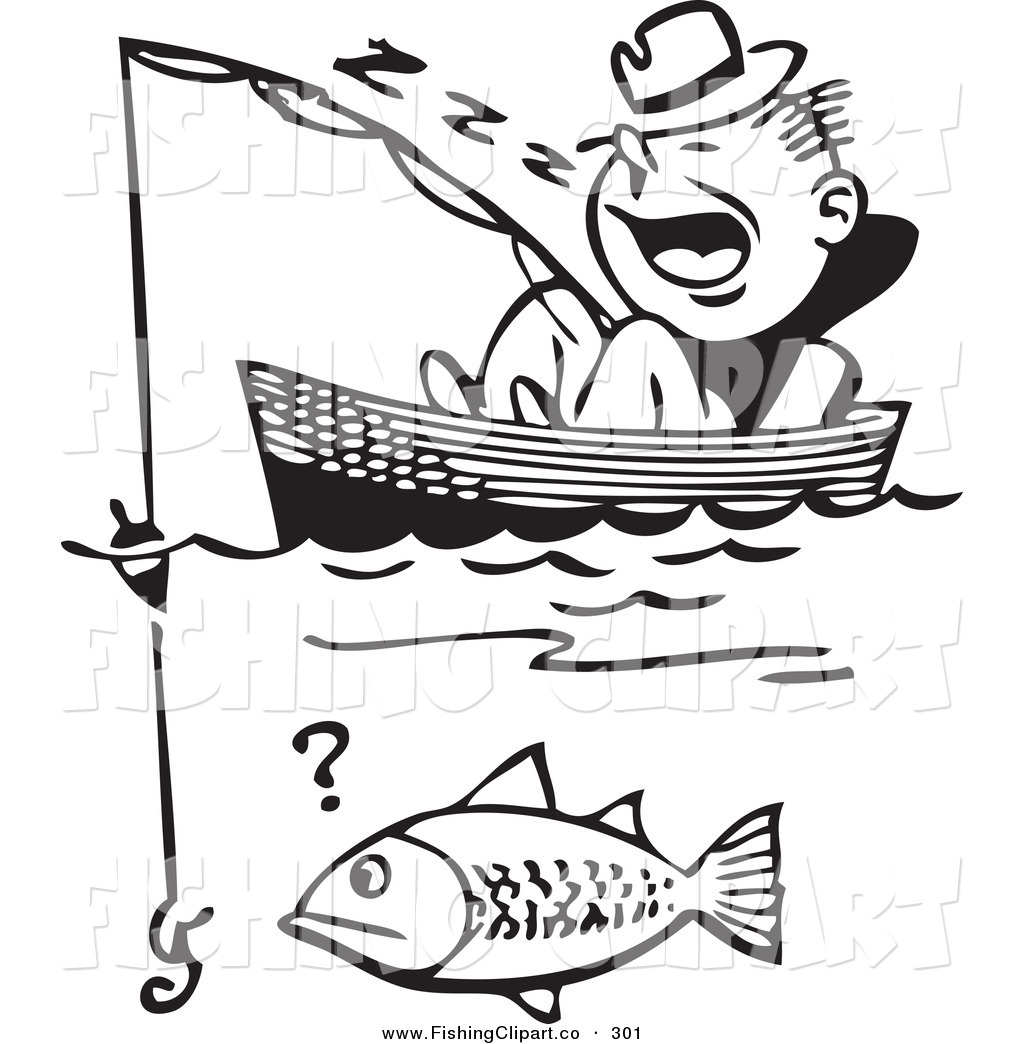 Preview  Clip Art Of A Retro Black And White Man Sleeping In A Boat