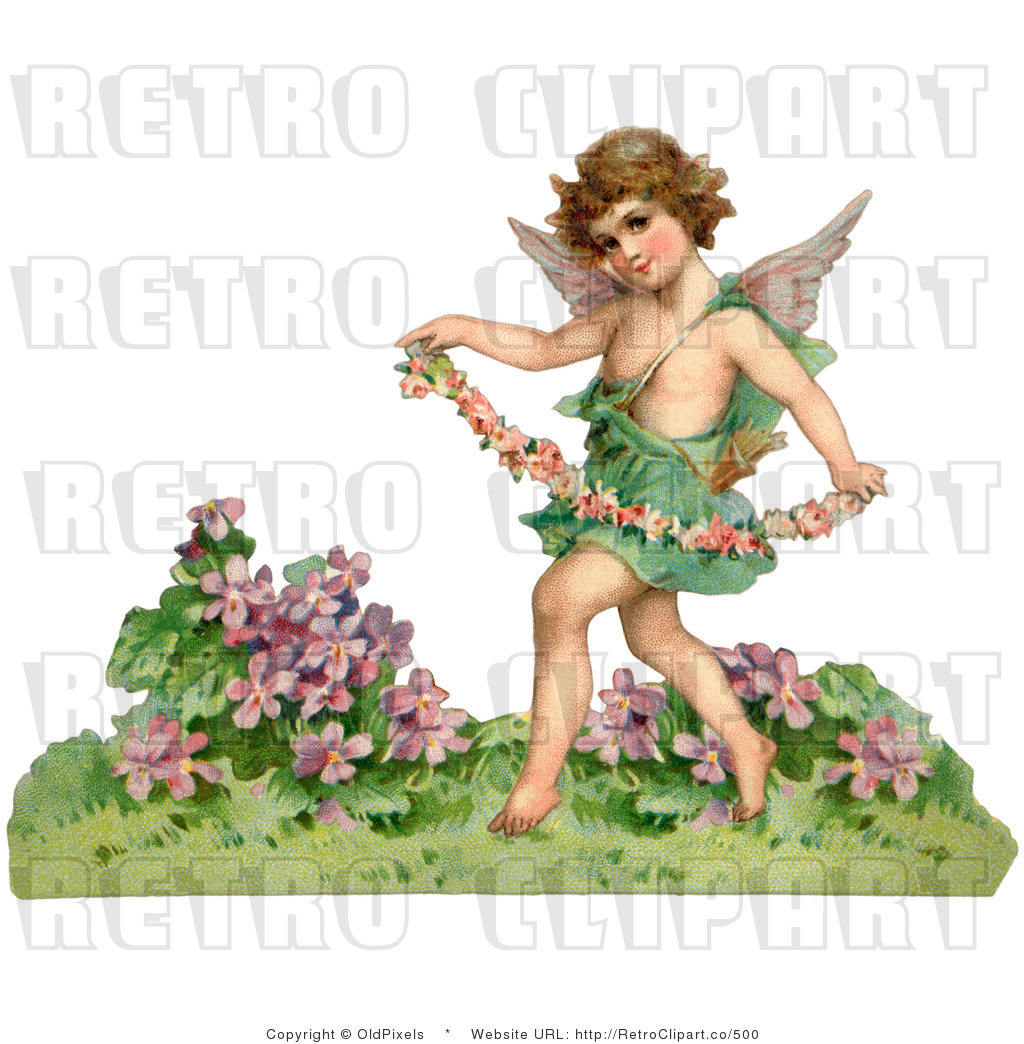 Retro Vintage Valentine Of Cupid With A Garland Royalty Free Clipart
