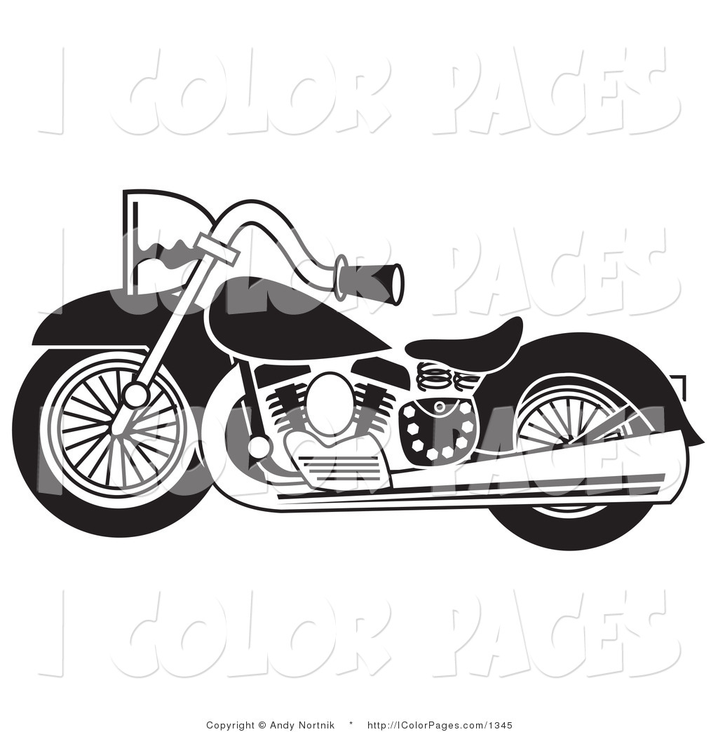 Royalty Free Harley Davidson Stock Coloring Page Clipart Illustrations