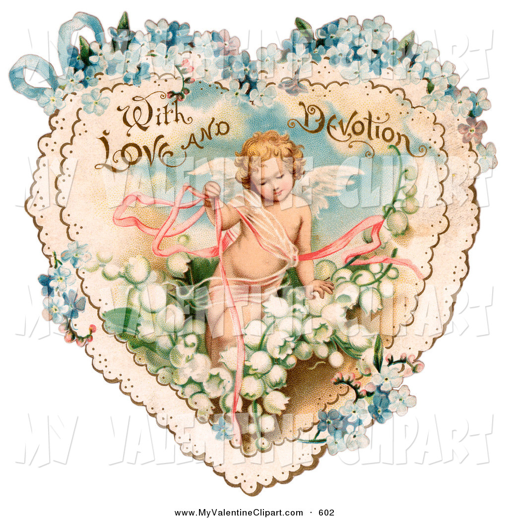 Valentines Clipart Of A Vintage Valentine Of Cupid With Ribbons