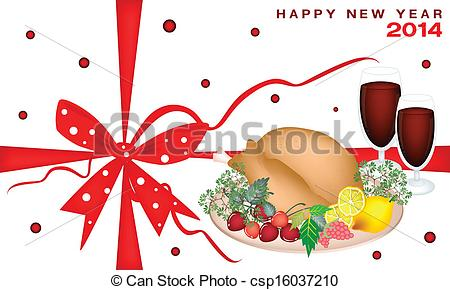 Vector   New Year Gift Card With Christmas Dinner   Stock Illustration