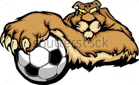 Wildlife   Cougar Mascot With Soccer Ball Vector Illustration
