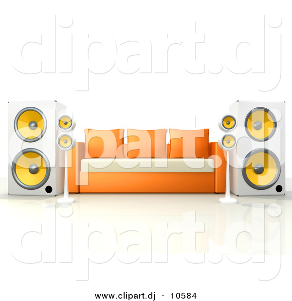3d Clipart Of A Living Room Sofa Surrounded By Large Speakers By 3pod