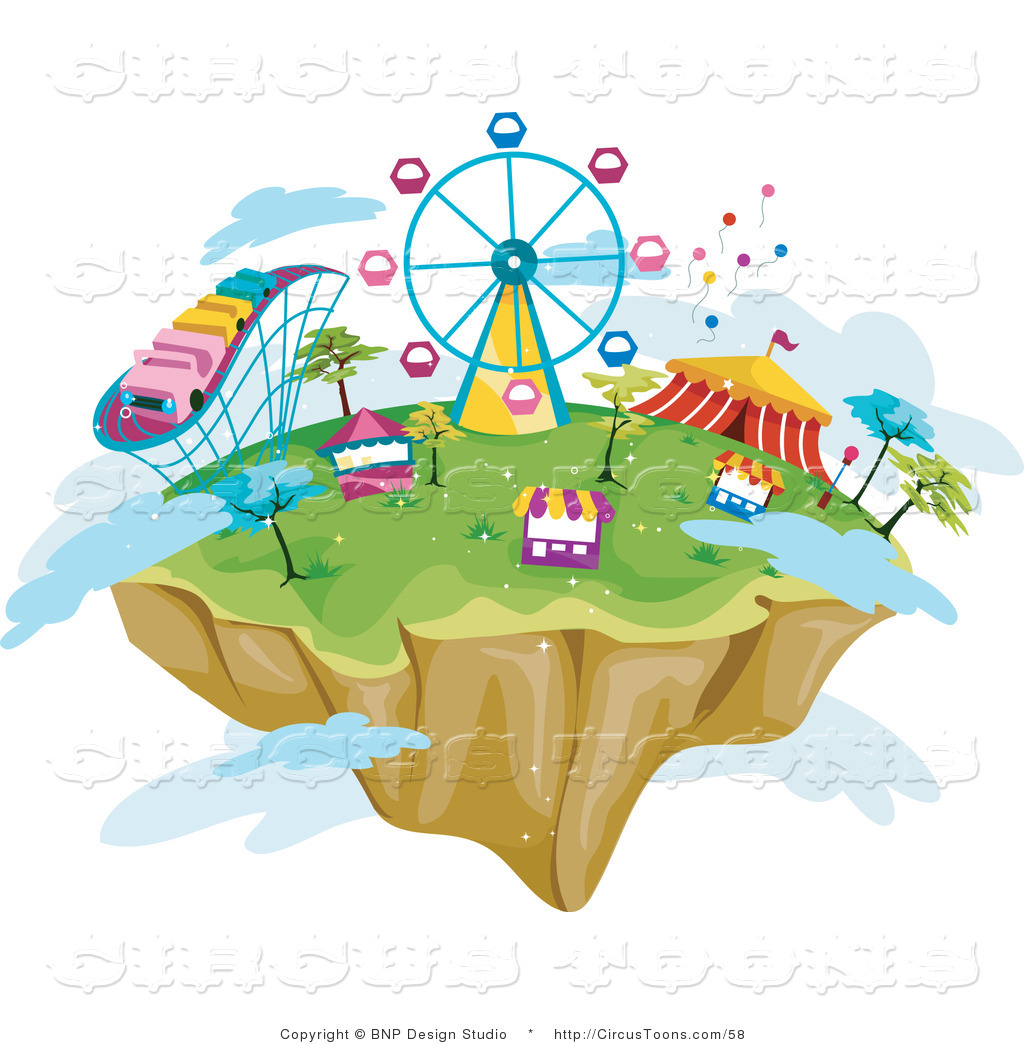 Circus Clipart Of A Floating Island In The Sky With Theme Park Rides