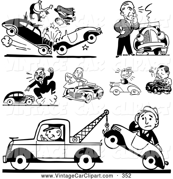 Clipart Of A Group Of Black And White Retro Car Wrecks And Towing By