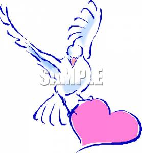 Dove Carrying A Heart   Royalty Free Clipart Picture