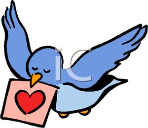 Dove Carrying A Letter   Royalty Free Clipart Picture