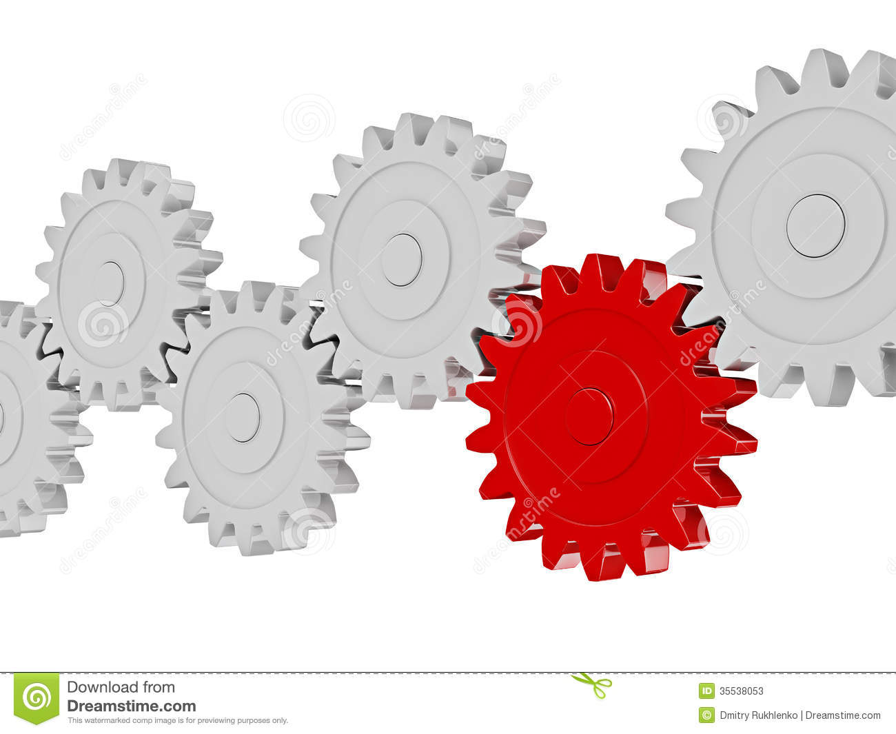 Gear Cogwheels In Row Working Together On White Stock Photos   Image