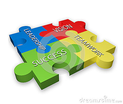 Leadership Teamwork Vison And Success On Colorful Puzzle Pattern