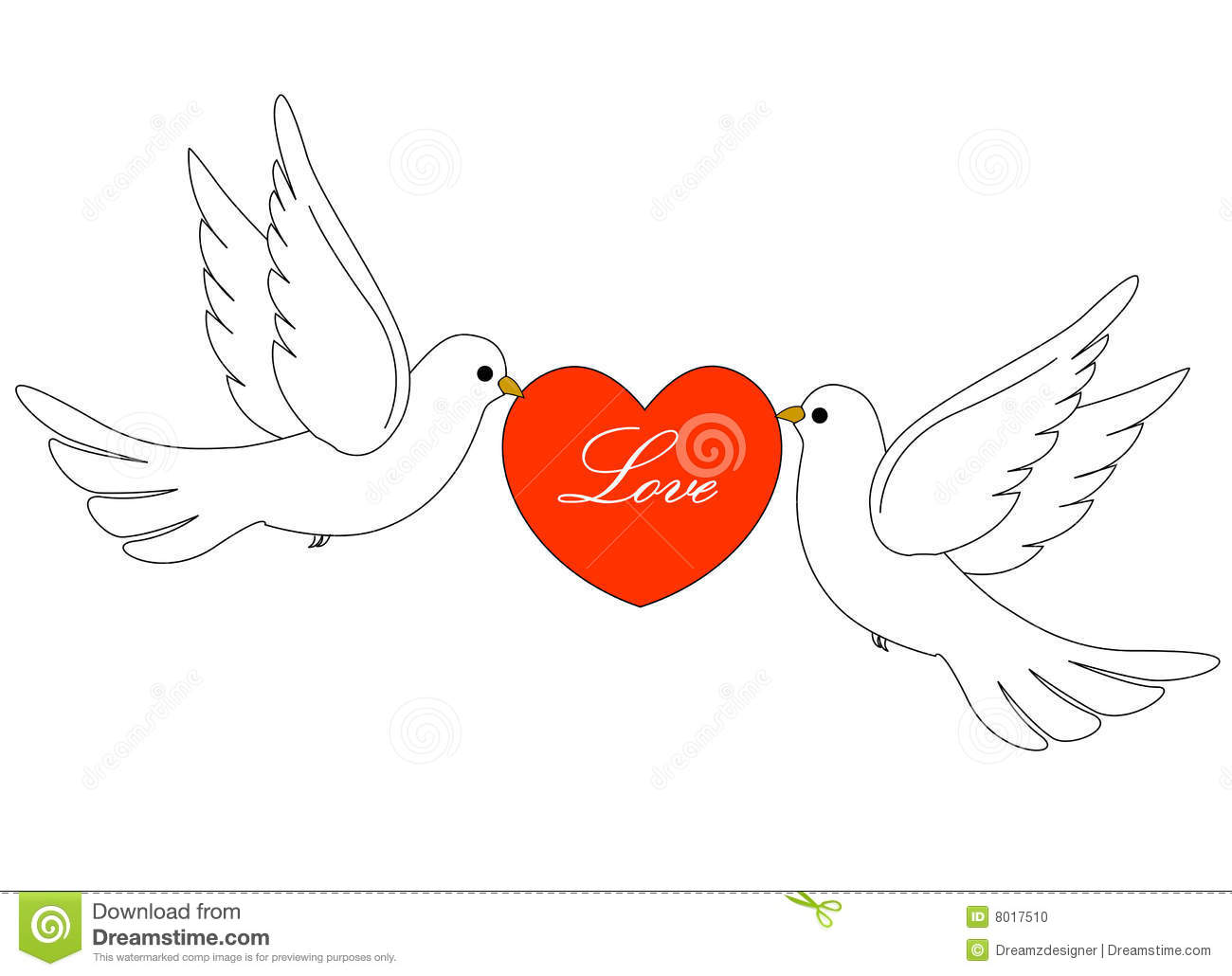 Loving White Pigeons Carrying A Red Heart On White Background Clipart