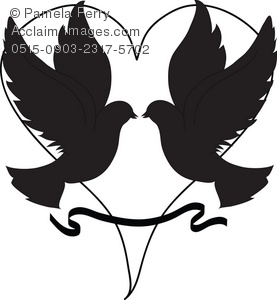 Of Doves In Silhouette With A Heart In The Background  This Clipart