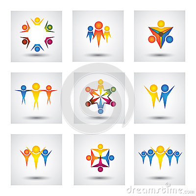 People Community Kids Vector Icons And Design Elements Stock Vector