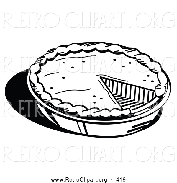 Retro Clipart Of A Black And White Outline Freshly Baked Pumpkin