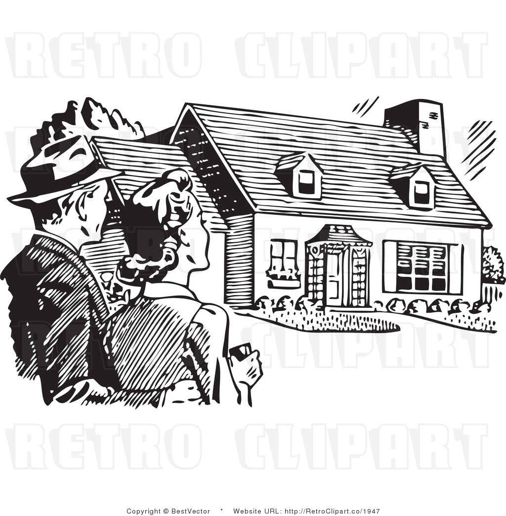 Royalty Free Black And White Retro Vector Clip Art Of A Couple House