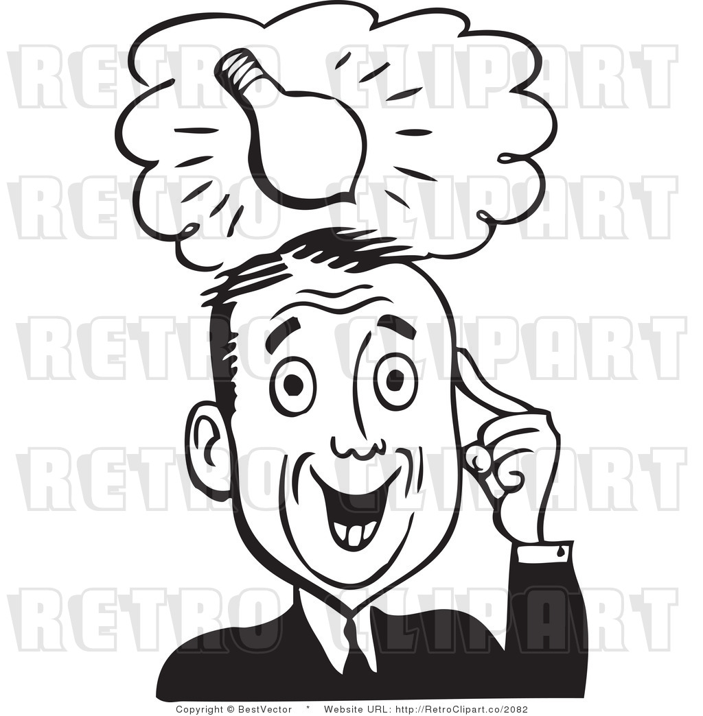Royalty Free Black And White Retro Vector Clip Art Of A Creative Man
