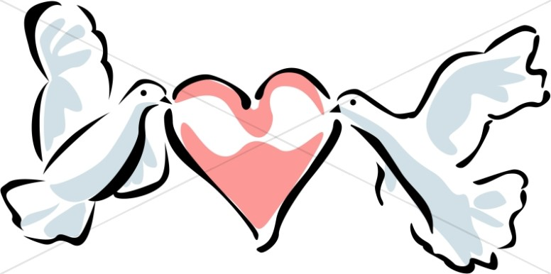 Two Doves Carrying A Heart   Dove Clipart