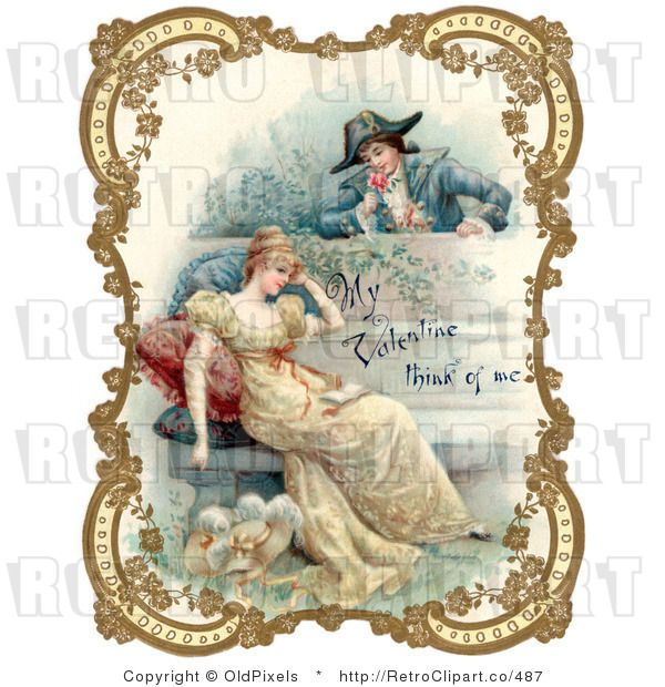 Valentine Victorian Couple In Garden    Victorian Cards   Illustratio