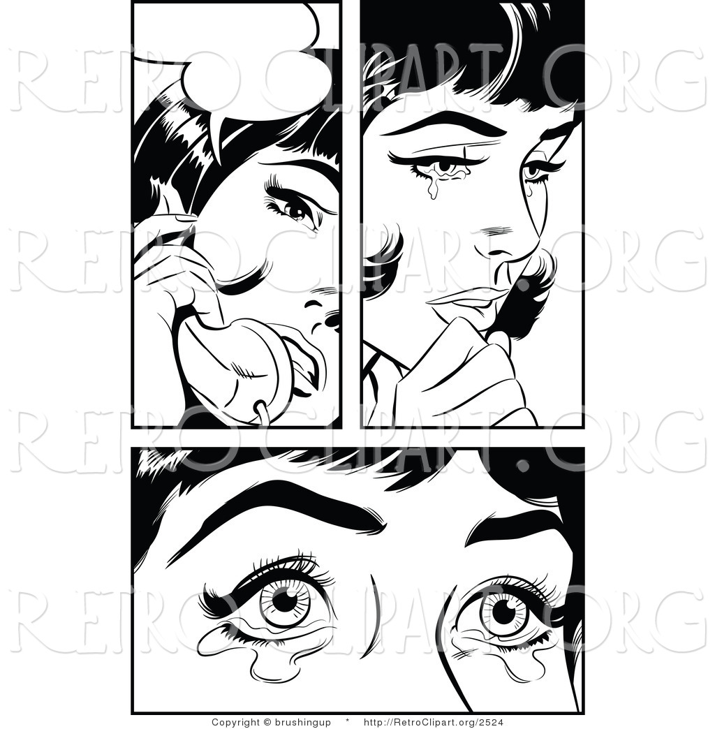 Vector Retro Clipart Of A Black And White Pop Art Woman Crying