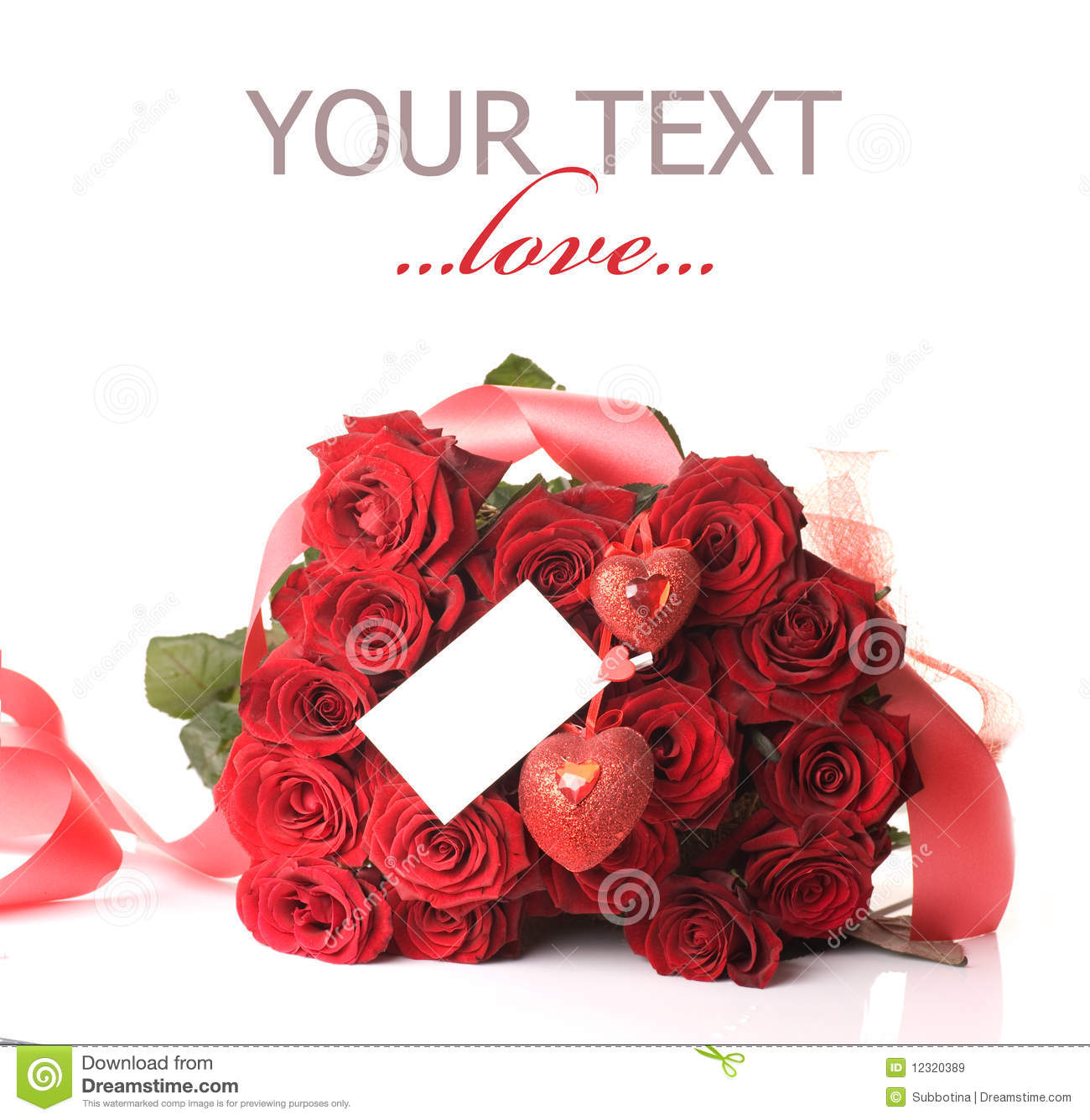 Beautiful Red Roses Bouquet For St Valentines Day Isolated On A White