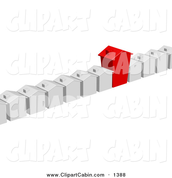 Clip Art Of A Unique Red Home In A Row Of White Homes In A