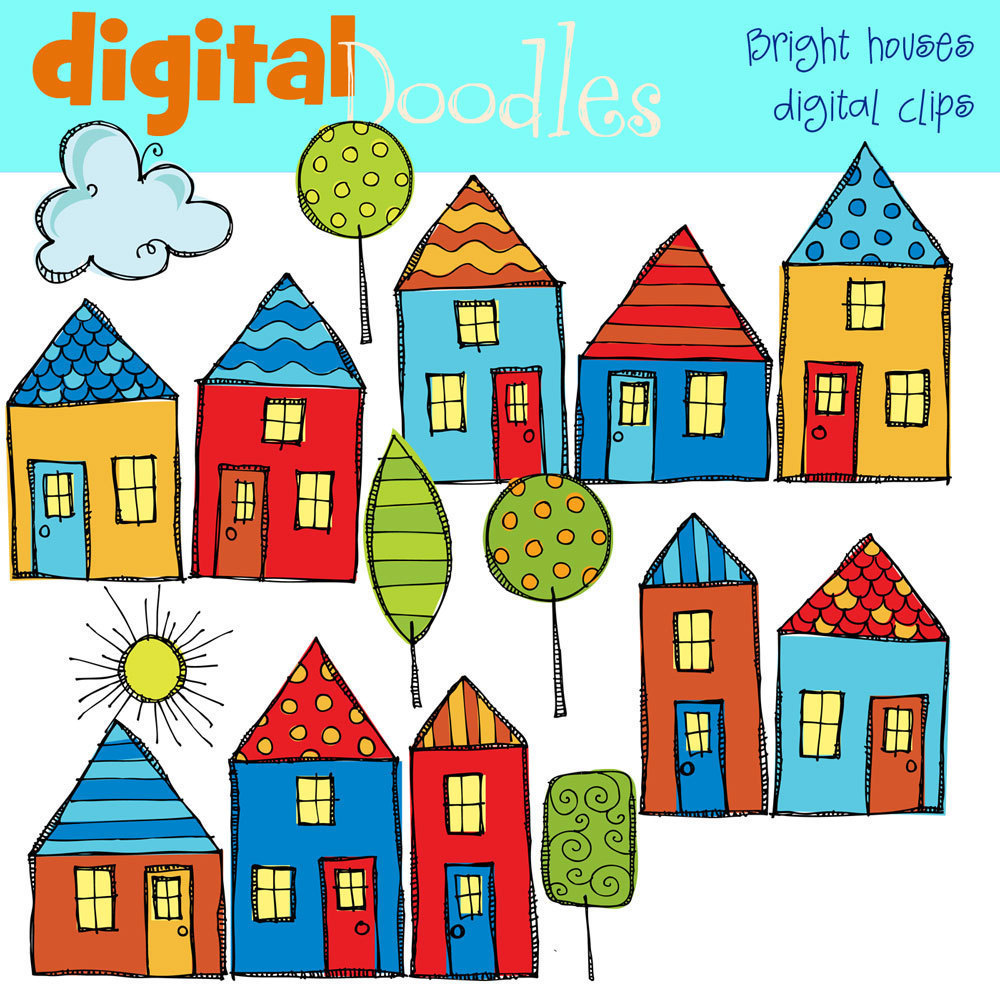 Clip Art Of Homes In A Row Clipart - Clipart Kid