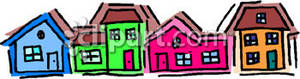 Colorful Row Of Houses   Royalty Free Clipart Picture