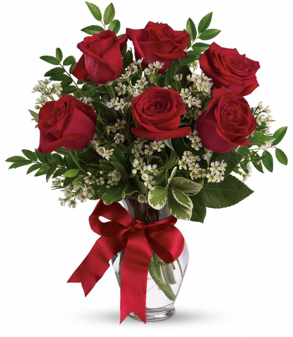 Half Dozen Red Roses Bouquet   Happy Valentines Day