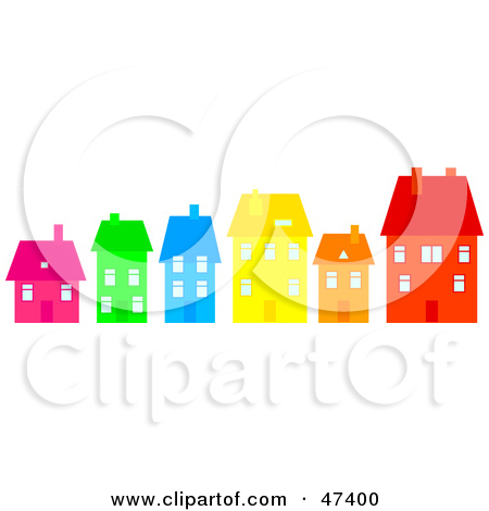 Royalty Free  Rf  Clipart Illustration Of A Row Of Colorful Homes On A