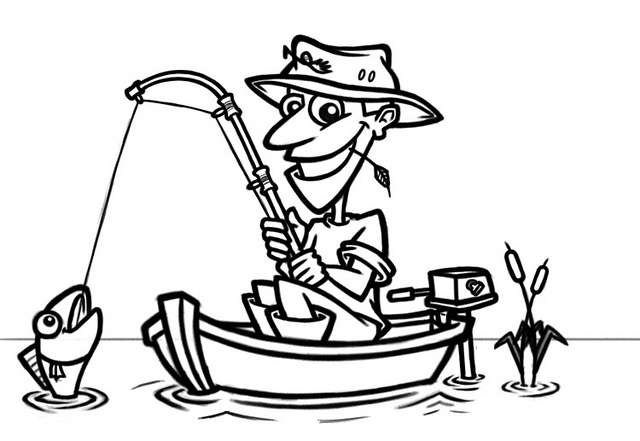 Fisherman Black And White Clipart - Clipart Kid
