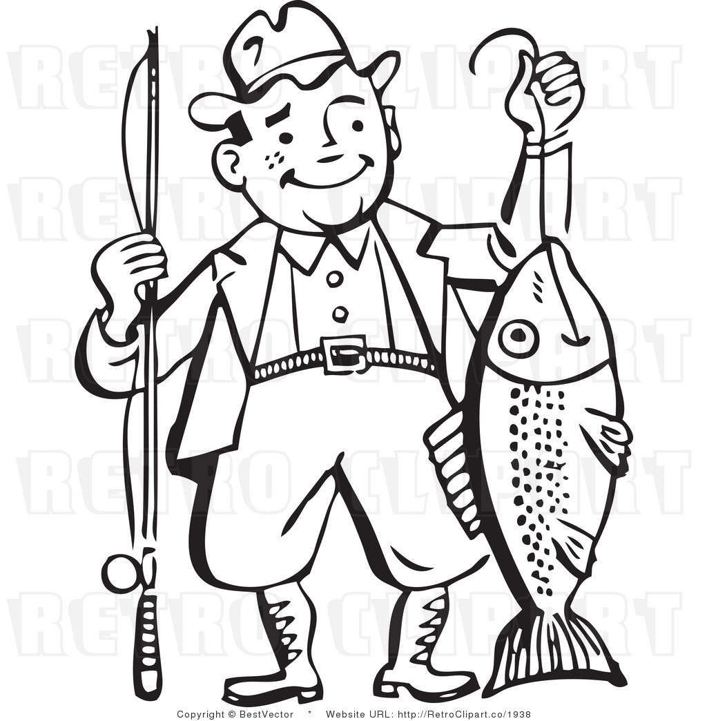 And White Retro Vector Clip Art Of A Fisherman By Bestvector    1938