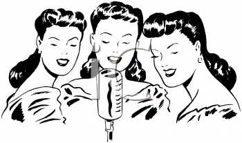 Black And White Vintage Cartoon Of A Trio Of Female Singers   Royalty