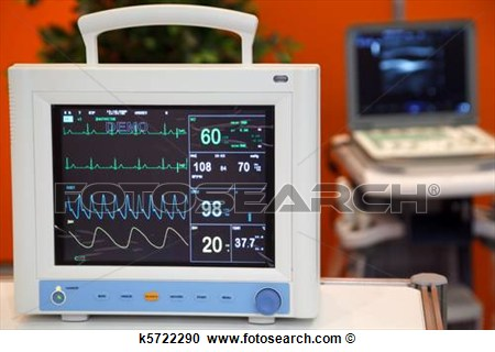 Cardiac Monitor With Vital Signs  Ekg Pulse Oximetry Blood Pressure
