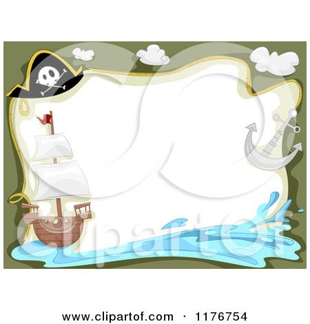 Cartoon Of A Pirate Ship Hat Anchor And Splash Border With Copyspace