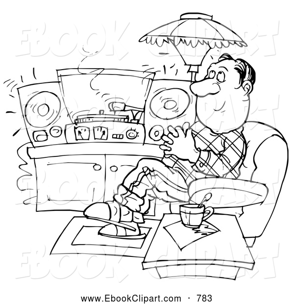 Clip Art Of A Black And White Sketched Man Relaxing And Listening To