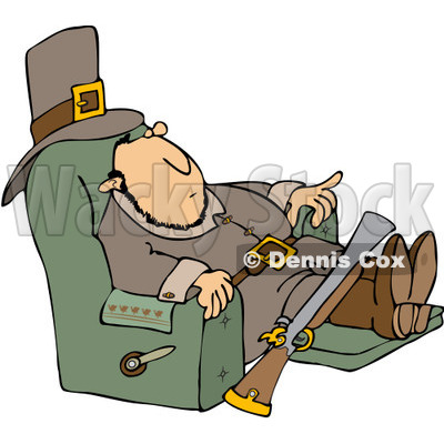 Clipart Thanksgiving Pilgrim Relaxing In A Recliner   Royalty Free