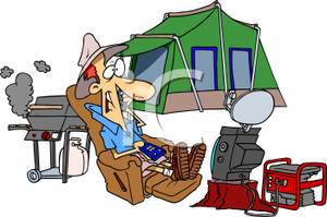Colorful Cartoon Of A Man Camping   Royalty Free Clipart Picture