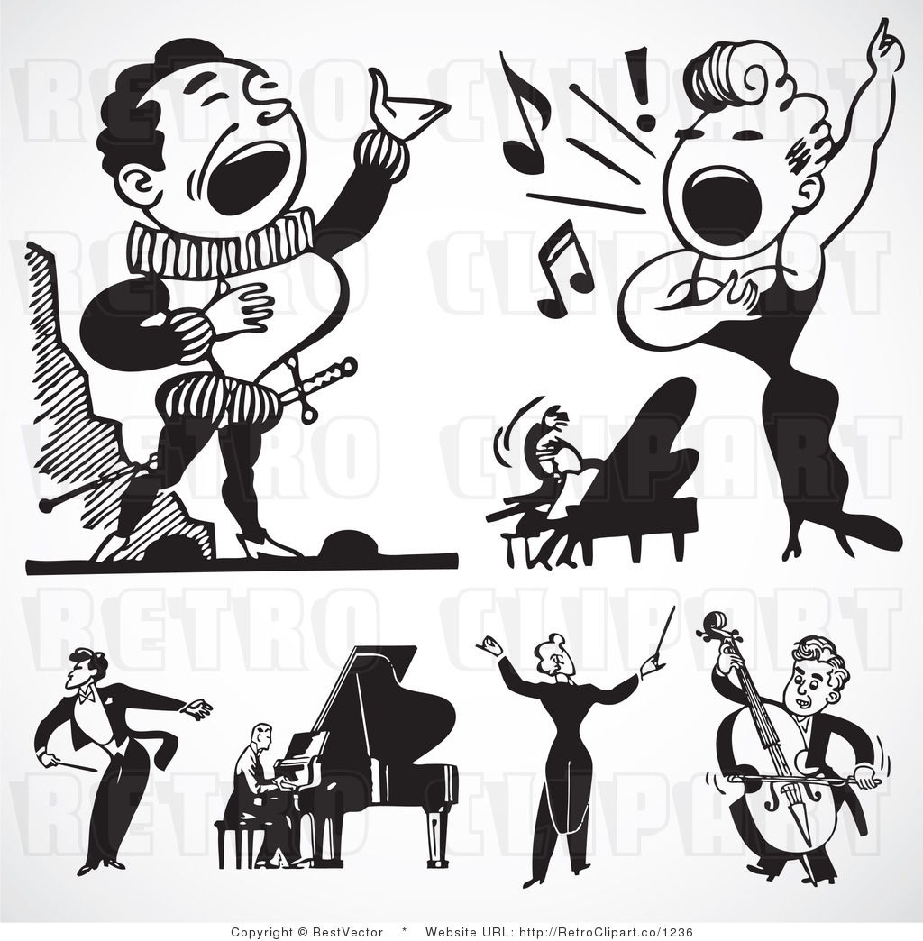 Free Black And White Retro Vector Clip Art Of A Collage Of Singers