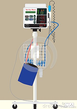 Hospital Vital Sign Monitor On Trolley With Bp Cuff And Thermometer