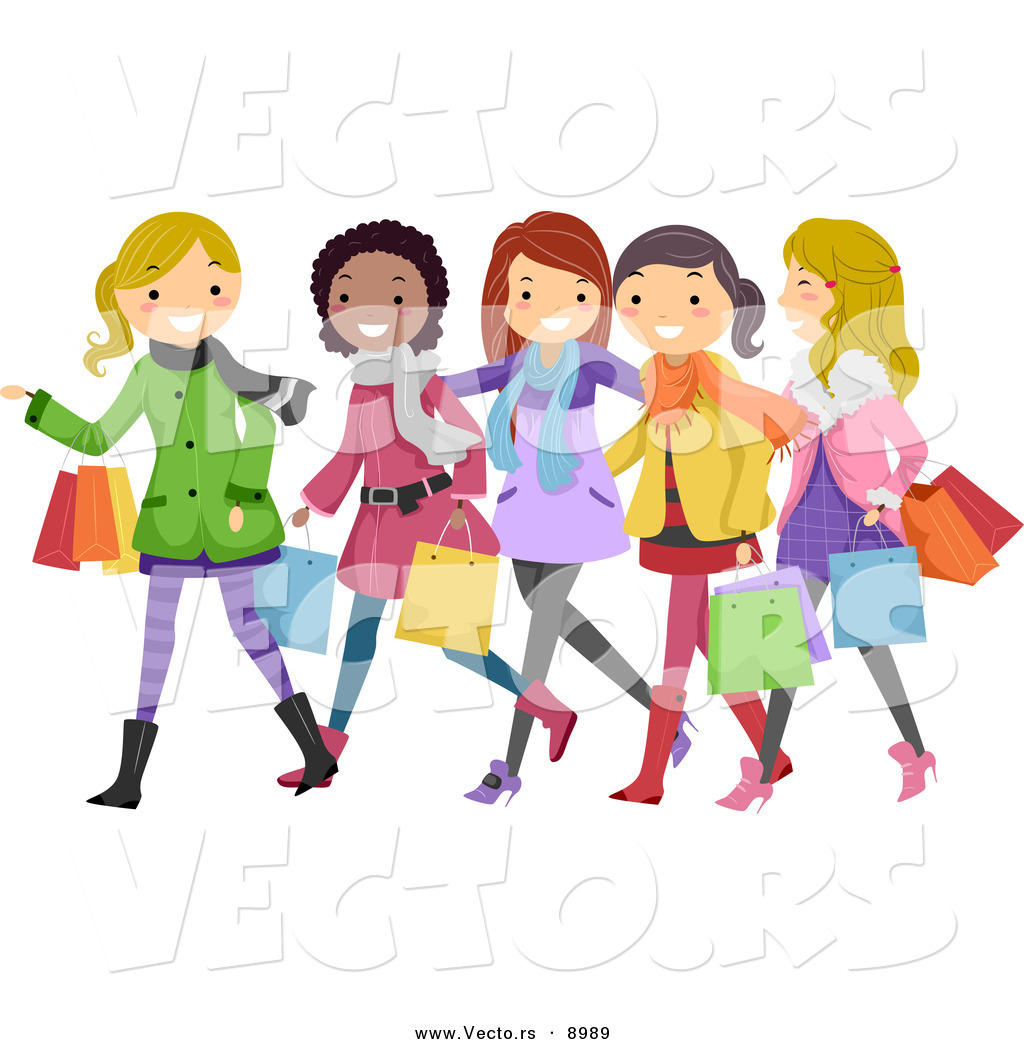 Larger Preview  Vector Of Happy Cartoon Teen Girls Christmas Shopping