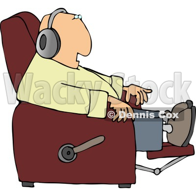 Sitting In A Recliner And Wearing Earphone Clipart   Dennis Cox  4503